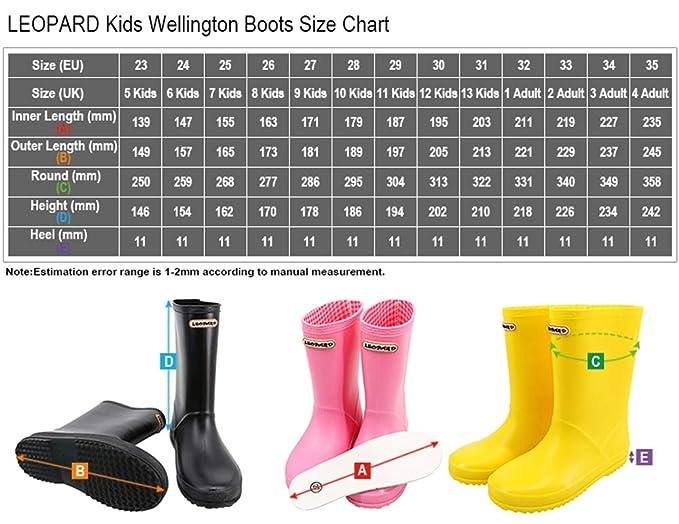 Leopard Boys Girls Non-Slip Waterproof Kids Wellies Wellington Boots Unisex Children Motorbike Rain Boots Shoes