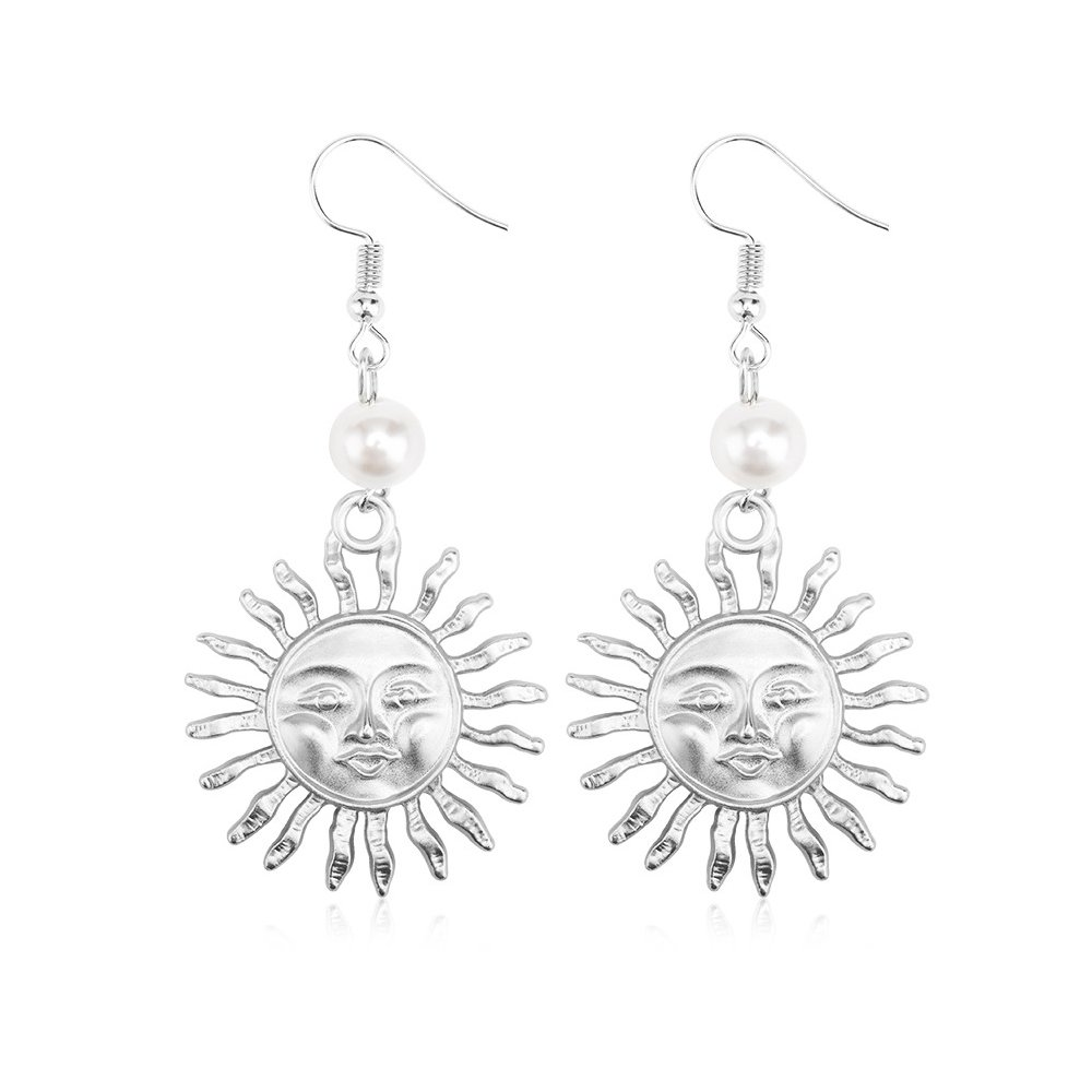 Star and Sea Cute Sunflower Sun Face Hook Dangle Drop Earrings for Women and Girl