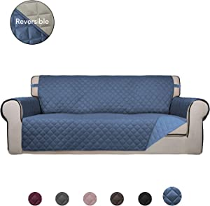 PureFit Reversible Quilted Sofa Cover, Water Resistant Slipcover Furniture Protector, Washable Couch Cover with Anti-Slip Foam and Elastic Straps for Kids, Pets (Oversized Sofa, DarkBlue/LightBlue)