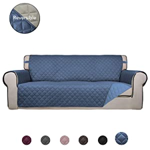 PureFit Reversible Quilted Sofa Cover, Water Resistant Slipcover Furniture Protector, Washable Couch Cover with Anti-Slip Foam and Elastic Straps for Kids, Dogs, Pets (Sofa, DarkBlue/LightBlue)