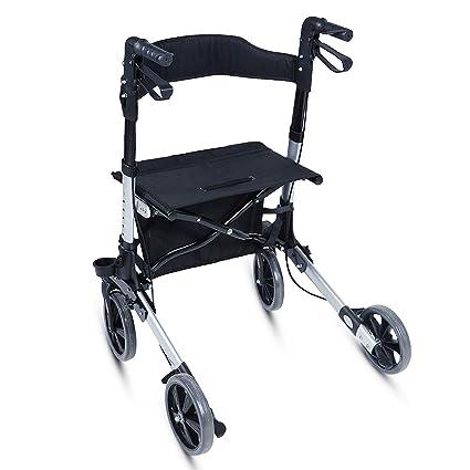Andador para Ancianos Plegable - Asiento con Respaldo, 4 Ruedas ...