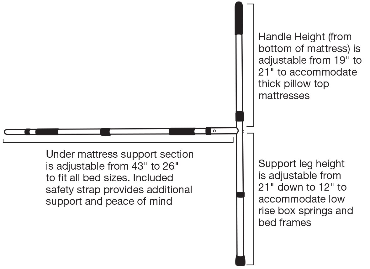 Amazon secure ezbr 1w bed assist hand rail with adjustable amazon secure ezbr 1w bed assist hand rail with adjustable floor support and safety strap tall grab handle fits pillow top mattress tool free jeuxipadfo Choice Image