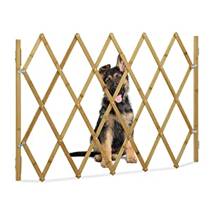 CAMPSLE Wooden Freestanding Foldable Pet Gate, Extendable Wooden Dog Barrier Grille Pet Gate,The Dog Door of The House,can Be Placed at The Door, Stairs