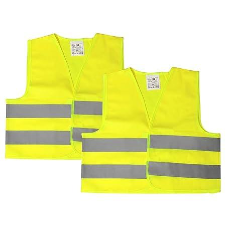 com-four® 2X Sicherheitsweste, waschbar, Warnweste für Kinder in Einheitsgröße nach DIN EN 1150, EN 340 (02 Stück - Weste)