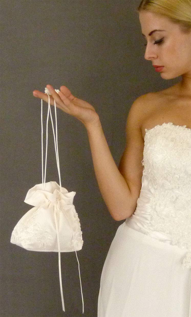 71d796f673fae Amazon.com : Satin Bridal Wedding Small Money Bag with Pearl-Embellished  Floral Lace for Dollar Dance, Bridal Purse, and Other Special Occasions  #E1DEDBiv ...