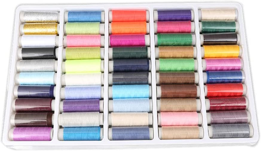 Makwes - 50 ovillos de colores mixtos, hilo de coser puro, máquina ...