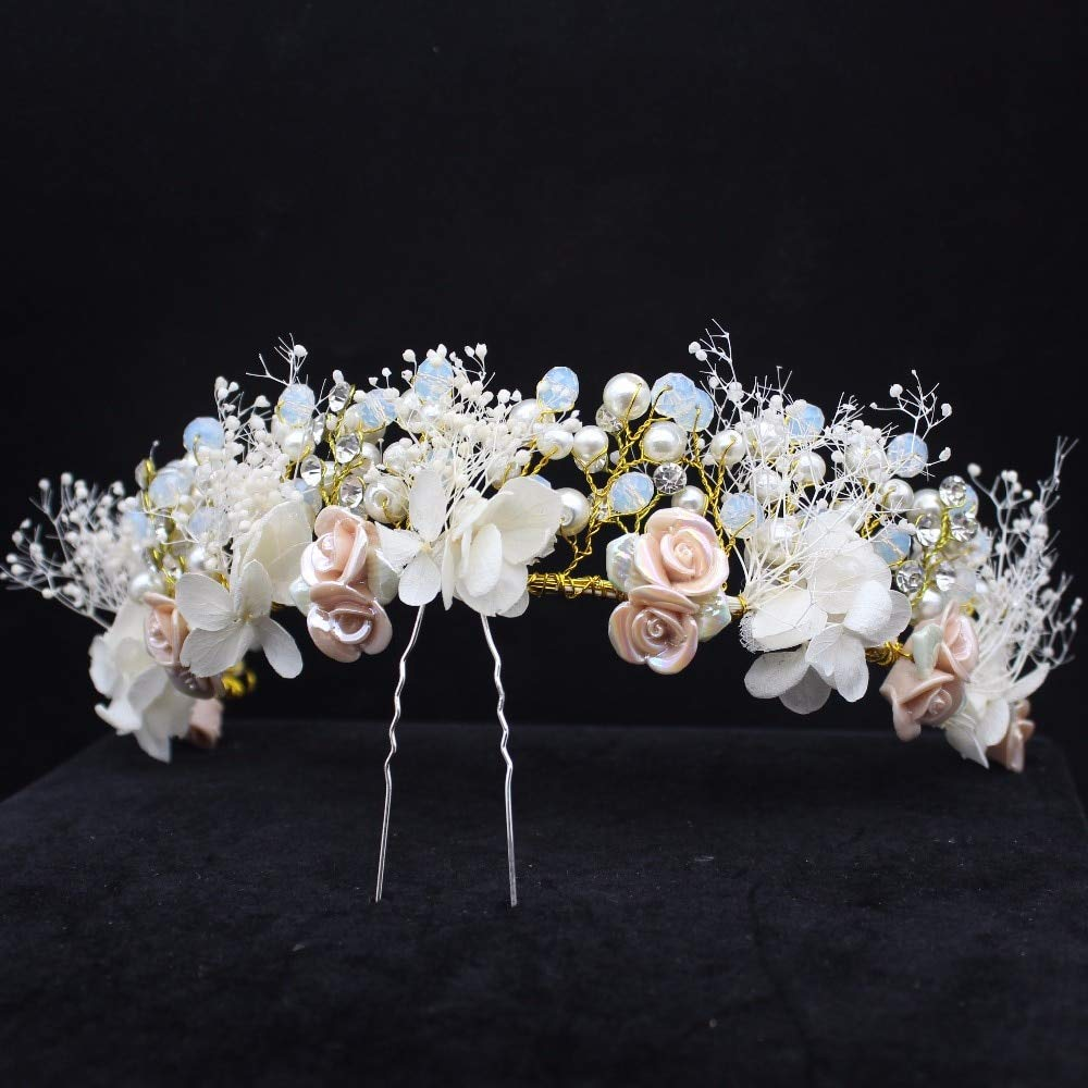 Handmade Flower Women Headband Bridal Crown Tiara Diadem Pageant Crown Crown Tiara Wedding Birthday Party Flower Flowers Bridal Hair Accessories