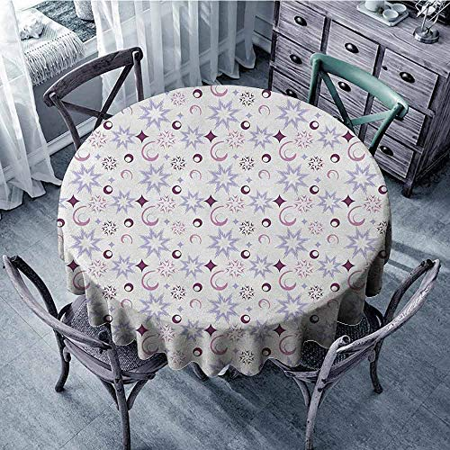 ScottDecor Beach Round Tablecloth Fabric Tablecloth Winter,Retro Pattern Abstract Snowflake Figures Dots Circles Stars, Eggplant Pale Lavander Dried Rose Diameter 70
