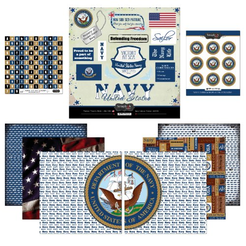 Scrapbook Customs Themed Paper and Stickers Scrapbook Kit, Navy