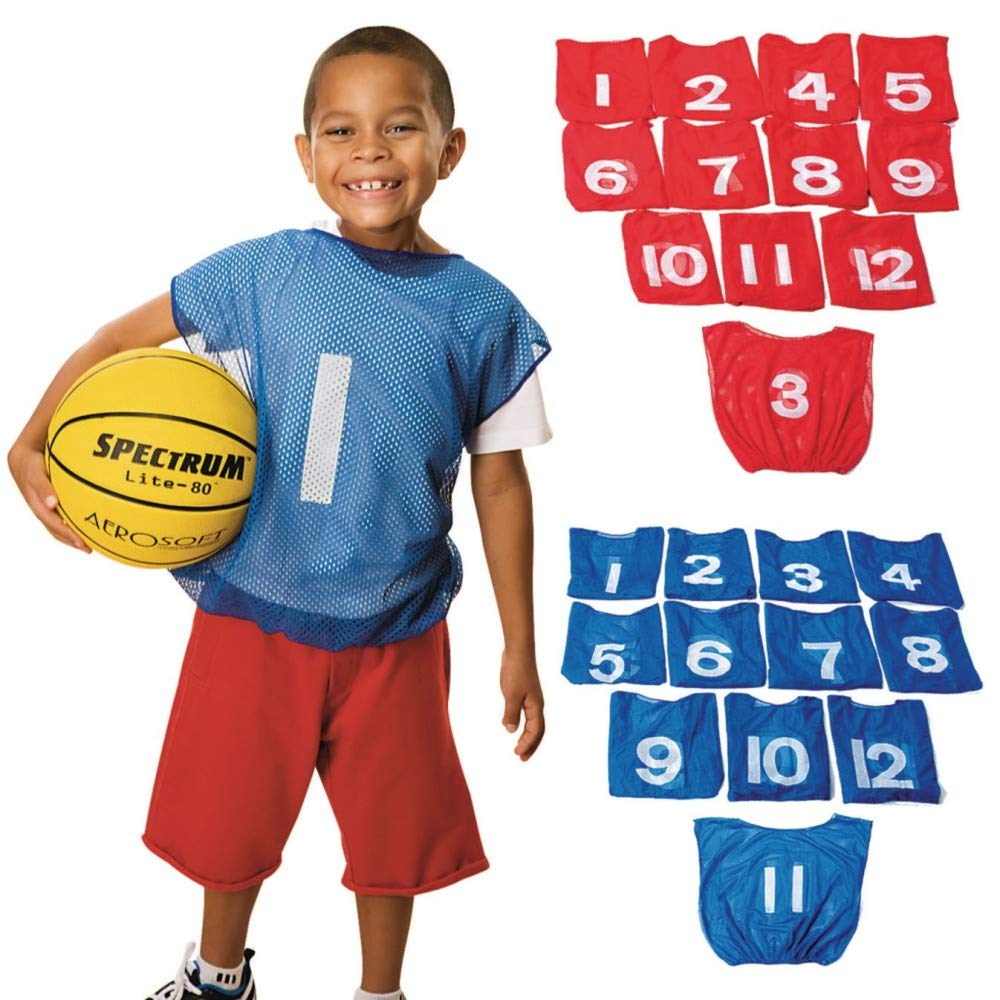 Spectrum Youth Mesh Scrimmage Vest with Numbers, Red