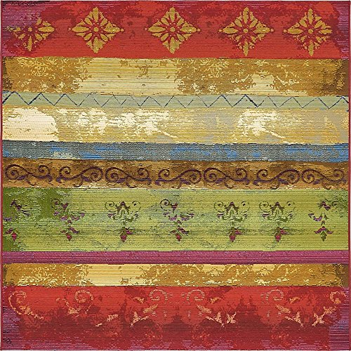 Unique Loom Eden Outdoor Collection Modern Transitional Multi Home Décor Square Rug (6' x 6') - Multi Outdoor Rug