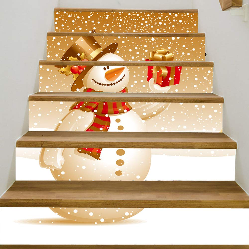 SHINGONE Christmas Stair Stickers Snowman Staircase Decals Xmas Trees Santa Stair Mural Wallpaper Self-Adhesive Risers Stickers for Christmas Party Home Decor Wall Tile Sticker 6 PCS