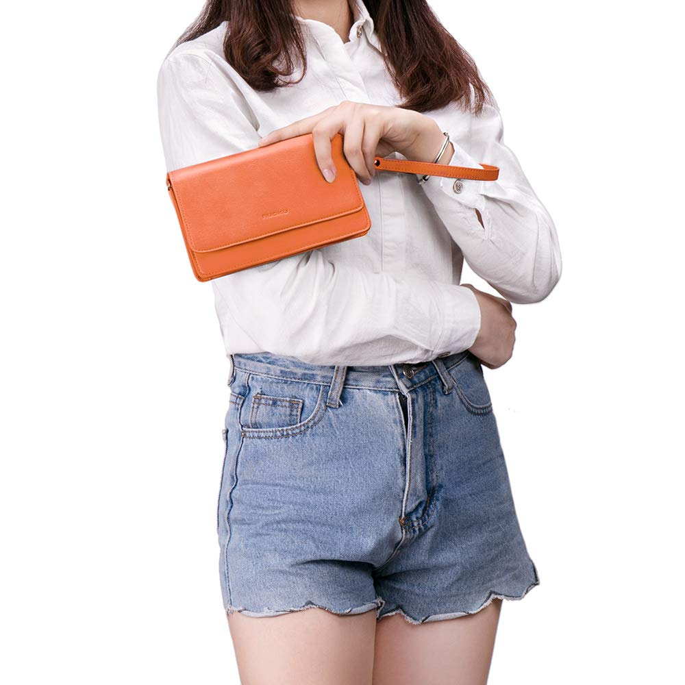 nuoku Women Small Crossbody Bag Cellphone Purse Wallet with RFID Card Slots 2 Strap Wristlet(Max 6.5'') … (Orange) by nuoku (Image #9)
