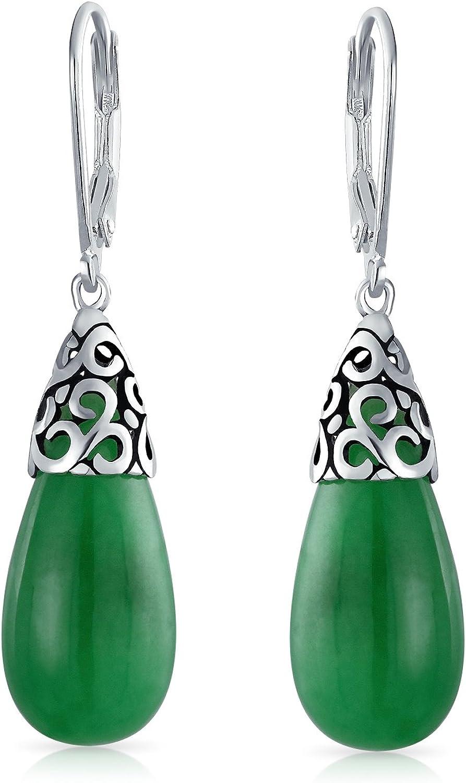 Estilo Piedras Preciosa Teñido De Verde Jade Lágrima Alargada Colgante Pendiente De Filigrana De Plata Esterlina Mujer