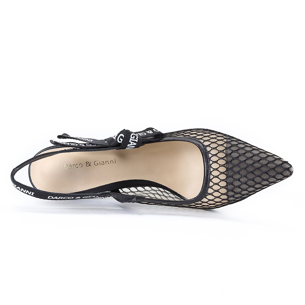 Darco & Gianni Women's Slingback Pump Shoe Dress Sandals Slip On Lace Mesh Pointed Toe Mid Kitten Flat Heel for Ladies Summer B07B6PTH9D 6 B(M) US High Heel Black a