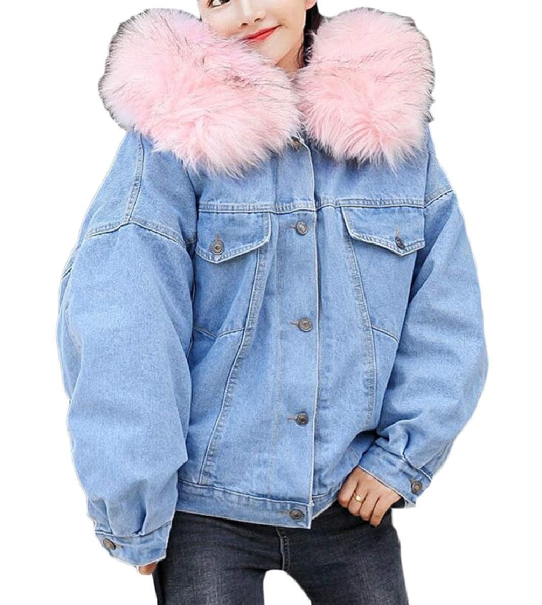 Xswsy XG-CA Women's Casual Loose Faux Fur Collar Thick Warm Fleece Denim Jacket Coat