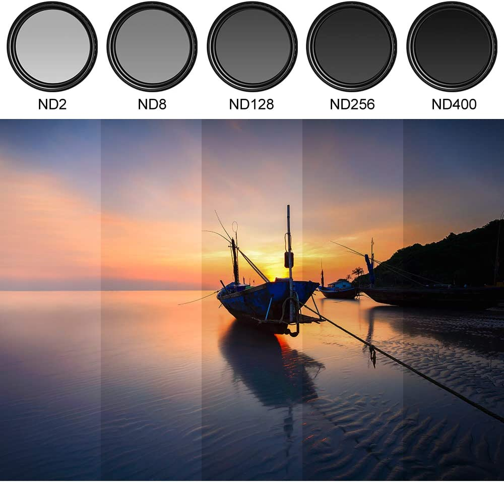 40.5mm ND Filter Slim Variable ND Neutral Density Filter Adjustable ND Fader ND2-ND400 Lens Filter for Canon Nikon Sony Pentax Olympus Fuji DSLR Camera