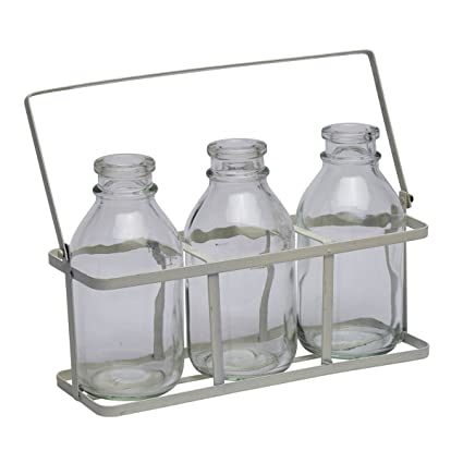 Juego de 3 botellas de leche de vidrio de época Mini Escuela en embalaje de metal