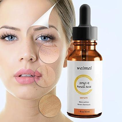 Sérum de vitamina C para cara y ojos, orgánico y natural, con vitamina E, ácido hialurónico y ferulico, productos antienvejecimiento para piel radiante ...