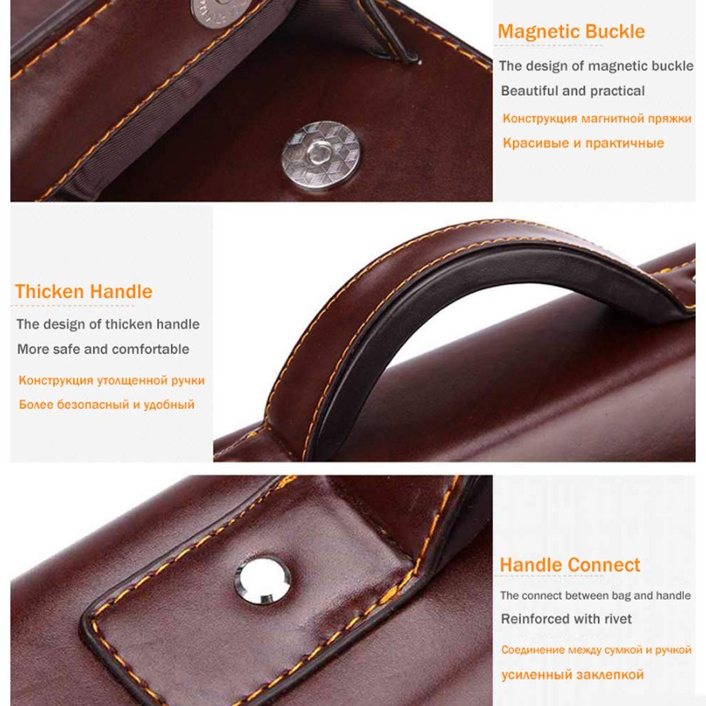 Black//Brown 38 X 30 X 9cm Business Briefcase Large Capacity Leather Briefcase Color : Black LBYMYB Mens Tote Business Casual Bag