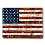 American Flag Collage by Artist Stella Bradley 25''x34'' Planked Wood Sign Wall Decor Art
