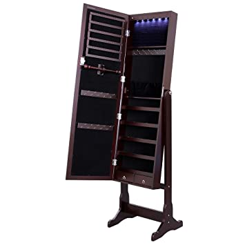 songmics lockable jewelry cabinet standing jewelry armoire organizer with mirror led light brown amazoncom antique jewelry armoire