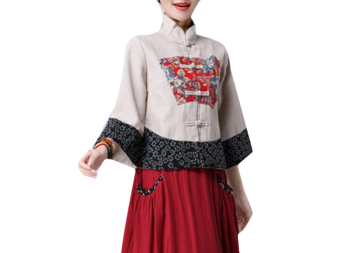 GodeyesWomen Godeyes Women Chinese Style Print Linen Retro Vogue Outwear Jacket Coat Pattern2 L by GodeyesWomen