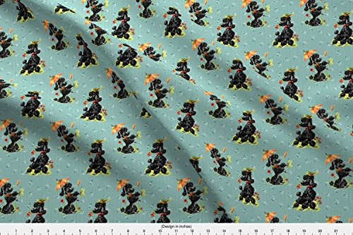 Spoonflower Poodles Fabric - Prissy Poodles Green by fenderskirt - Poodles Fabric Printed on Basic Cotton Ultra Fabric by The Yard -