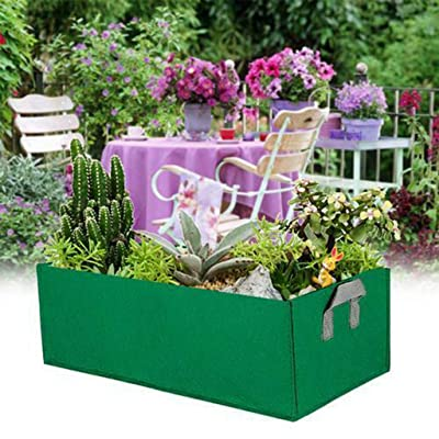 Square Thickened Nonwoven Vegetable Planting Pots Garden Flower Grow Bags with Handles by Homthia (8 Gallon, Green) : Garden & Outdoor