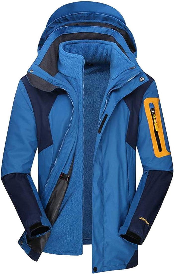 XiaoTianXinMen XTX Mens Detachable Windbreaker Hoodies 3-in-1 Fleece Mountaineering Snow Jacket Blue XXS