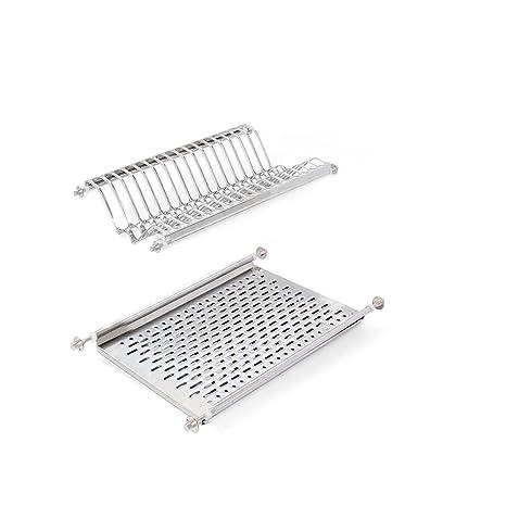 Emuca - Escurridor de platos y vasos de acero inoxidable para muebles de cocina de ancho 50 cm