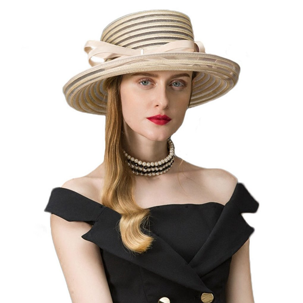 Krastal Womens Fascinators British Ladies Wide Brim Hat Vintage Kentucky Derby Fedora by Krastal (Image #1)