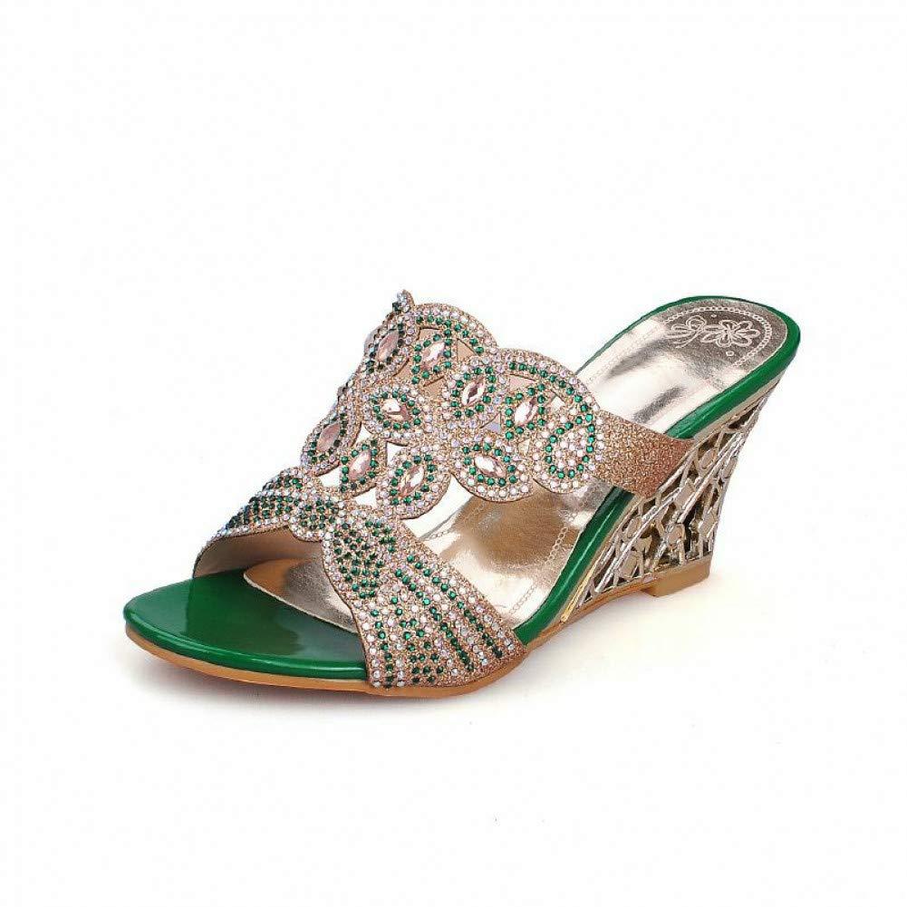 Ai Ya-liangxie 32-43 Rhinestone Lady's Party Pantoletten Pumps Mode Hohlen Keile Heels Sommer Damen Schuhe Woman Sandalen