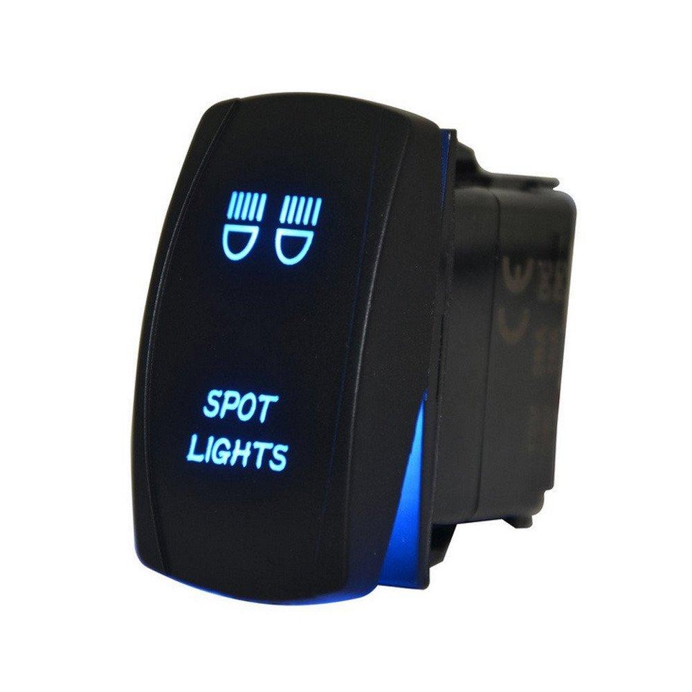 Supmico Car Auto 12V 20A 24V 10A Blue LED Light Lamp Rocker Toggle Switch 5Pin Spot Light