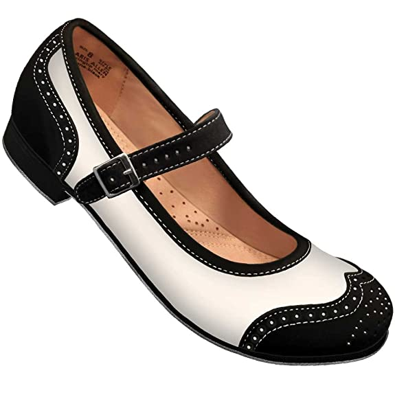 1950s Style Shoes Aris Allen Black and Ivory Snub Toe Mary Jane Wingtips $48.95 AT vintagedancer.com