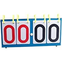 Qind 4 Dígitos Deportivo Scoreboard Portátil Digit Flip Mesa de Ping Pong Score Tabla de Deportes Scoreboard, para Voleibol Baloncesto Fútbol Mesa Tenis Set Score