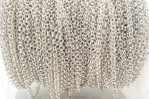 10ft DIY Bulk Silver Plated Rolo Chain- Lead & Nickel Free- Necklace Jewelry Making (Silver 2.5mm)