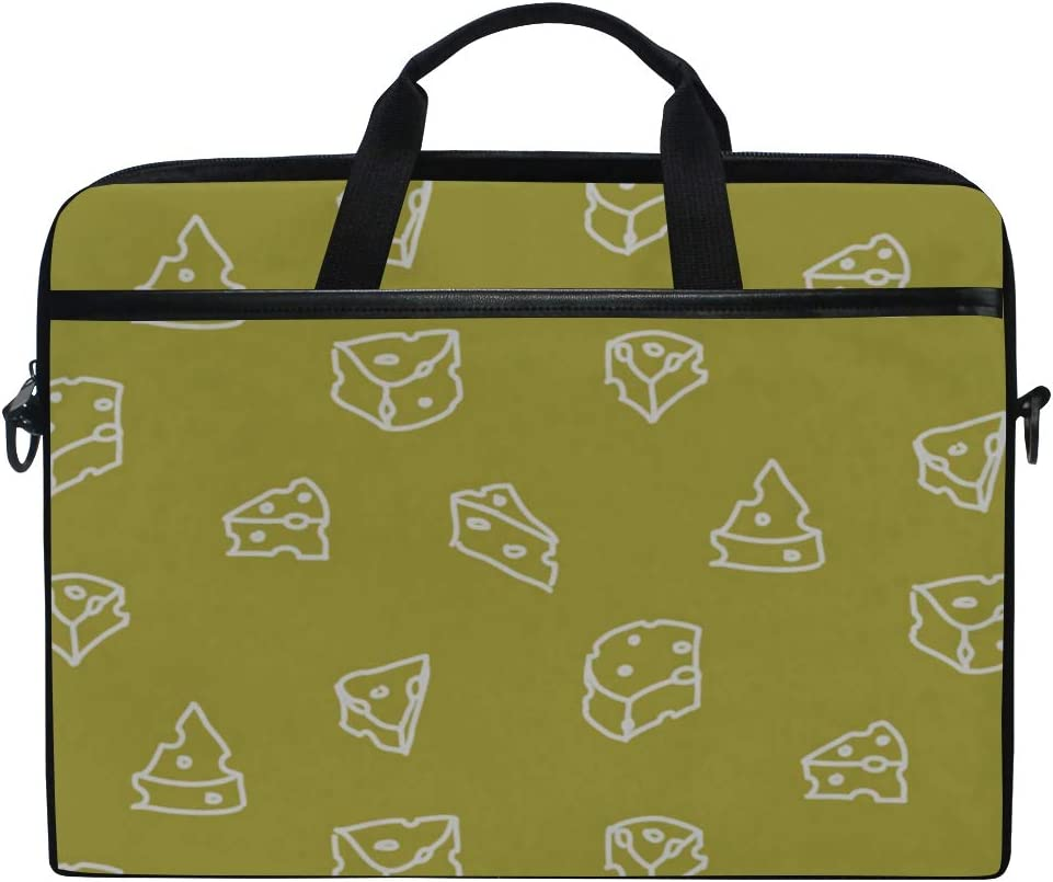 Laptop Bag Cheese Handdrawn 15-15.4 Inch Laptop Case Briefcase Messenger Shoulder Bag for Men Women College Students Business People Office Workers