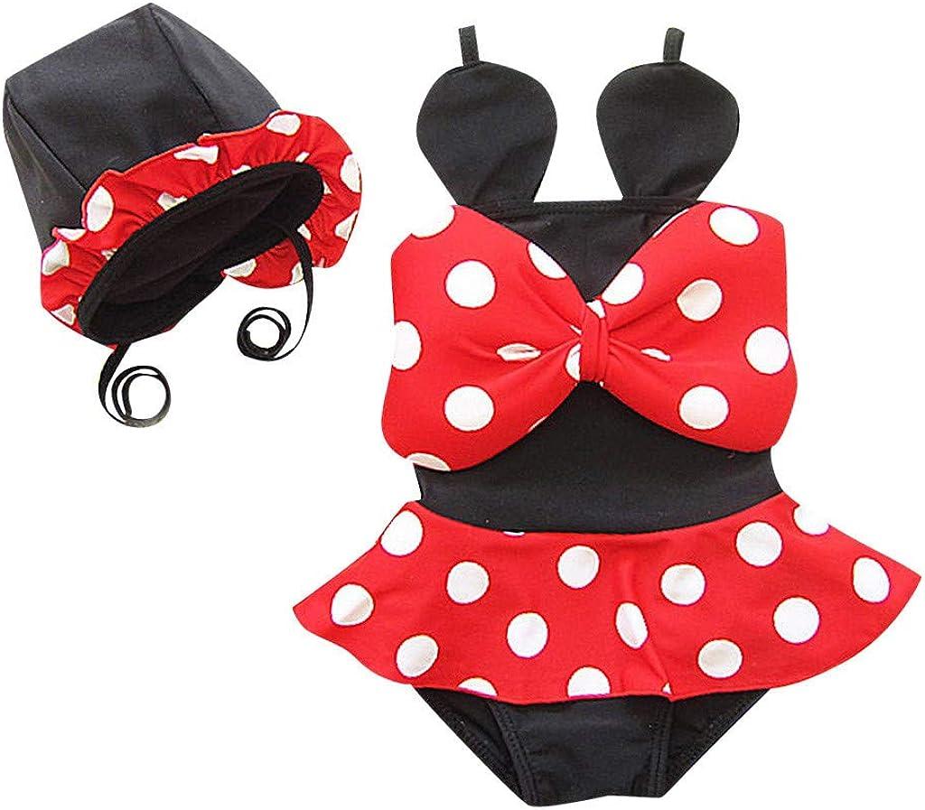 TEVEQ Toddler Kids Girl Two Piece Bikini Set Swimwear Dot Swimsuit Costume Bathing Suit