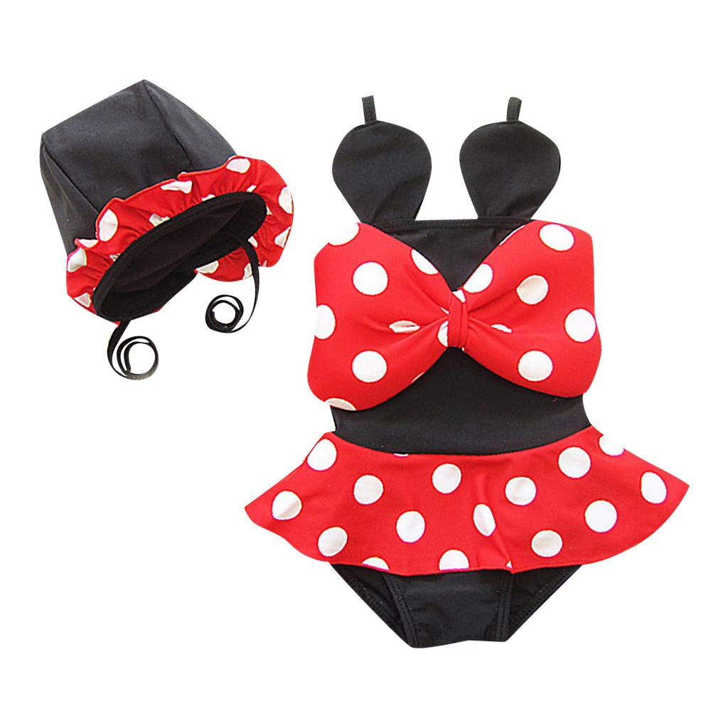 Cute Bikini Set for Kids Girl Dot Print Bow Swimsuit Bathing Suit +Hat Minnie Swimwear 2Pcs (Black, Recommended Age:1-2 Years)