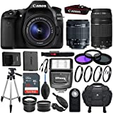 Canon EOS 80D DSLR Camera Kit with EF-S 18-55mm f/3.5-5.6 IS STM Lens, EF 75-300mm f/4-5.6 III Telephoto & Sandisk 32GB Memory Card - Accessory Bundle (Certified Refurbished)