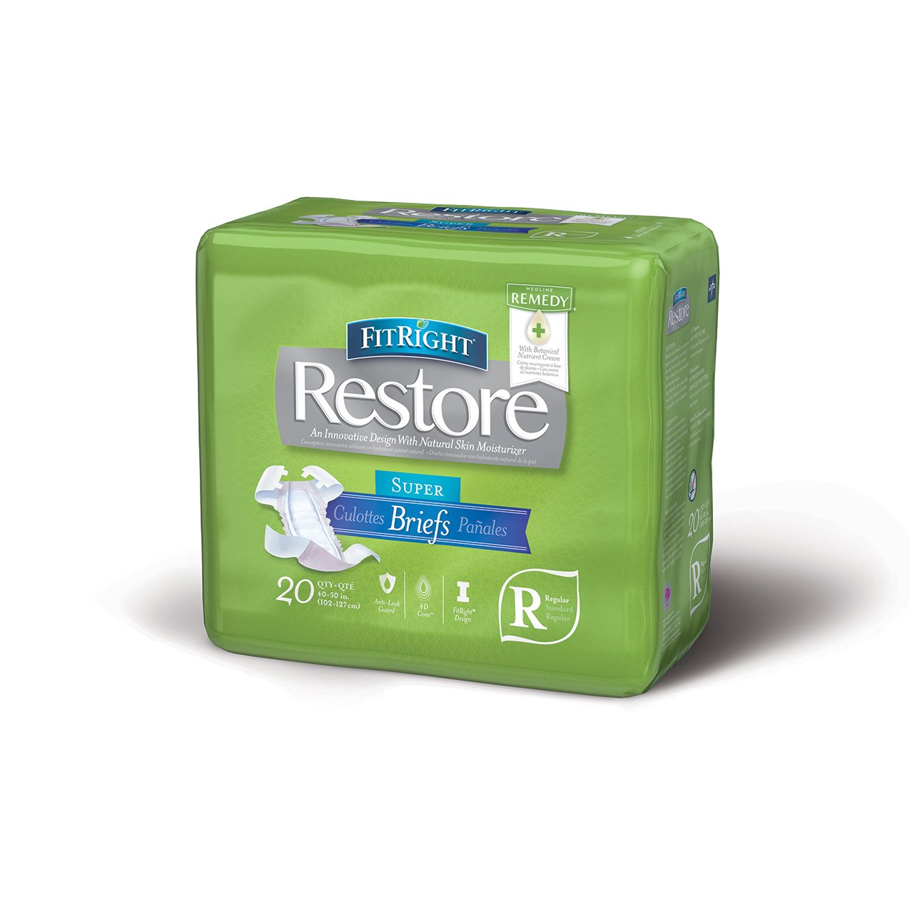 FitRight Restore Adult Briefs with Tabs, Maximum Absorbency, Regular, 40''-50'', For Adult Incontinence, Comfort and Skin Health, 4 packs of 20 (80 total)