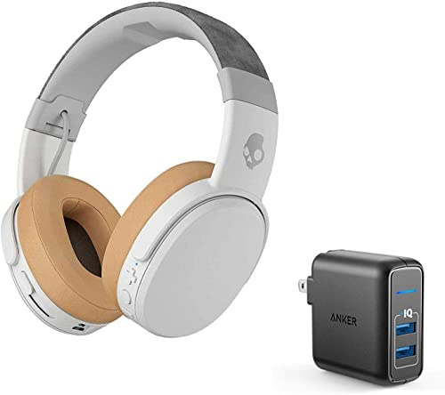 Skullcandy Crusher Foldable Noise Isolating Over-Ear Wireless Bluetooth Immersive Headphone Bundle with Anker 2 Port USB Wall Charger – Gray Tan