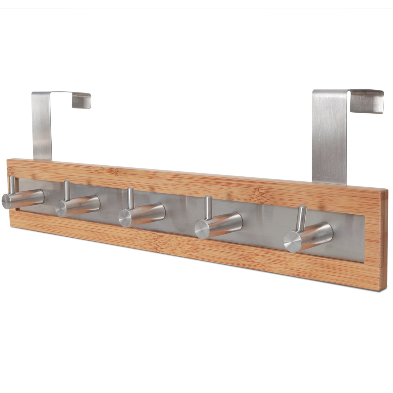 ToiletTree Products Bamboo Wood & Stainless Steel Over the Door Towel Rack, 3 Hooks SYNCHKG053112
