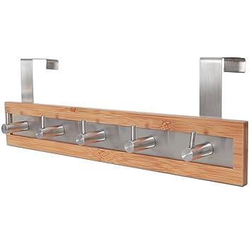 Good ToiletTree Products Bamboo Wood U0026 Stainless Steel Over The Door Towel Rack,  5 Hooks