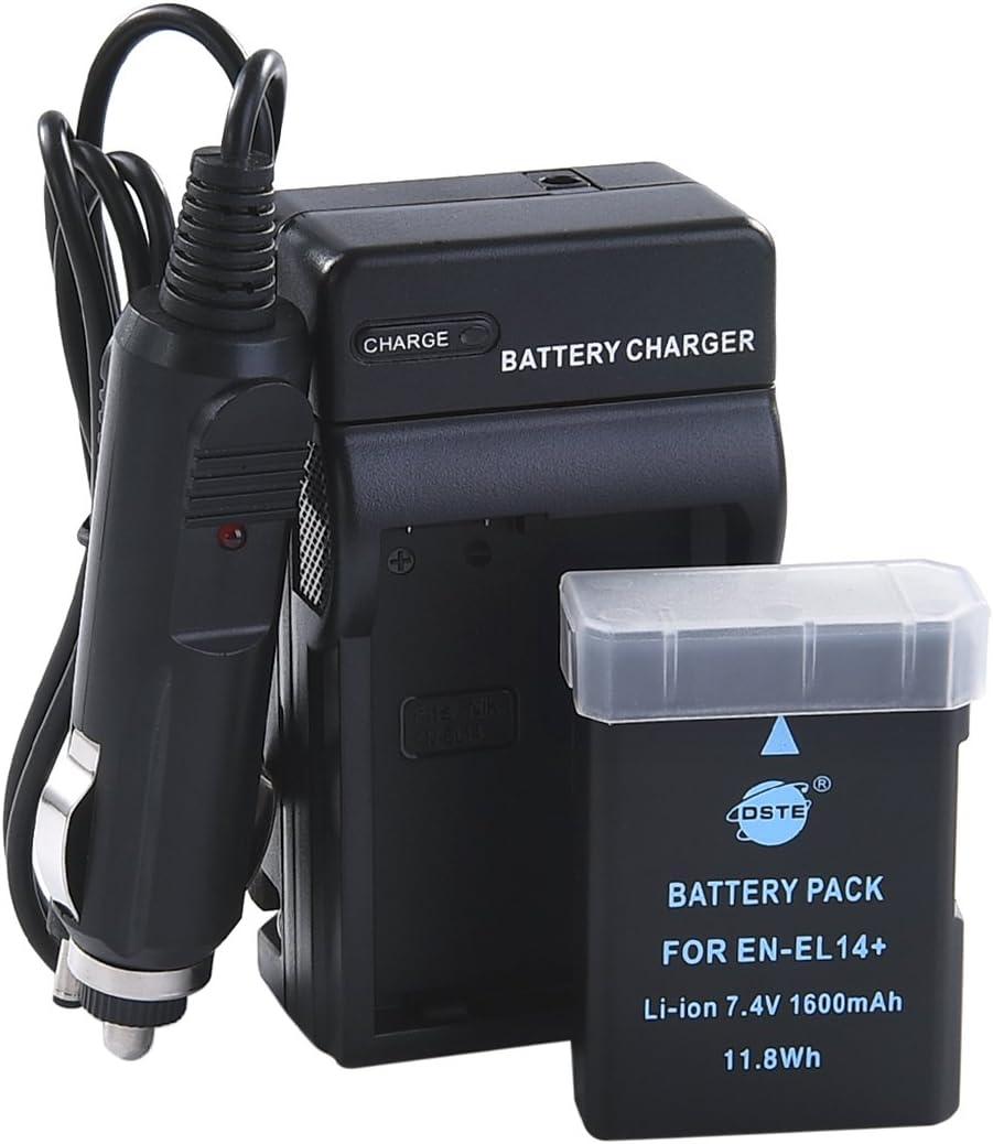 DSTE EN-EL14 Battery and DC111 Travel and Car Charger Adapter for Nikon D5100 D5200 D5300 D5500 DF P7000 P7100 P7200 P7700 P7800 D3400 D3500 Digital Camera as EN-EL14A