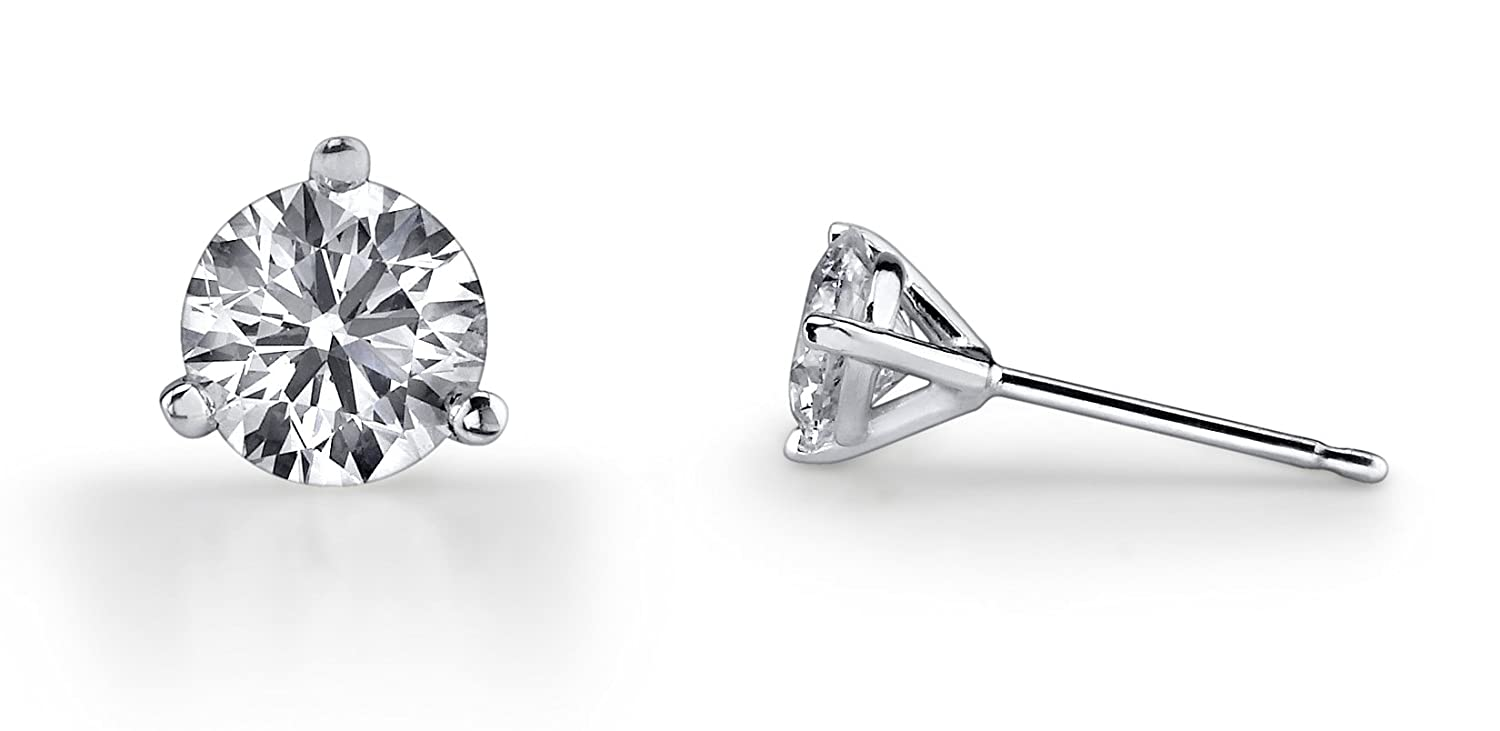 3cf20aca8 Choice of 14k Yellow or White Gold Round Diamond 3 Prong Martini Setting Stud  Earrings (1/4 Cttw, I-J Color,SI2-I1 Clarity)