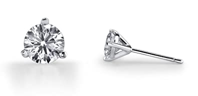 fceb32f10 Choice of 14k Yellow or White Gold Round Diamond 3 Prong Martini Setting Stud  Earrings (