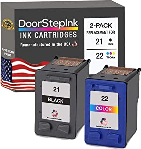 DoorStepInk Remanufactured Ink Cartridge Replacements for HP 21 22 Black Color 2 PK for Deskjet F2276 3910 3915 3920, OfficeJet 4315v J3608 J3640 PSC 1401, 1417, Fax 1250 3180