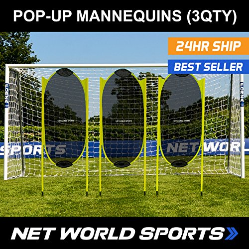 Pop Up Dummy - Spring Back Soccer Free-Kick Mannequins [3 Pack] - Professional Style Soccer Practice Dummies [Net World Sports]
